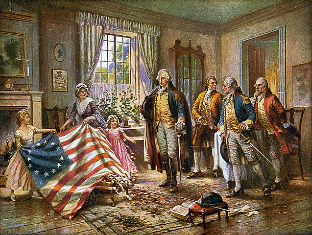 Betsy Ross with Washington The American Almanac-min